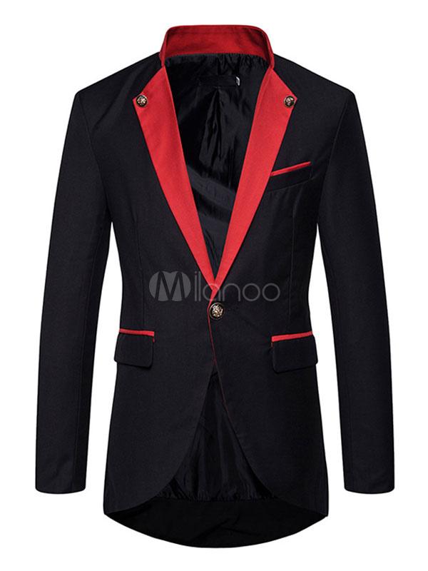 Men Spring Jacket Black Casual Blazer Turndown Collar Long Sleeve Suit Jacket