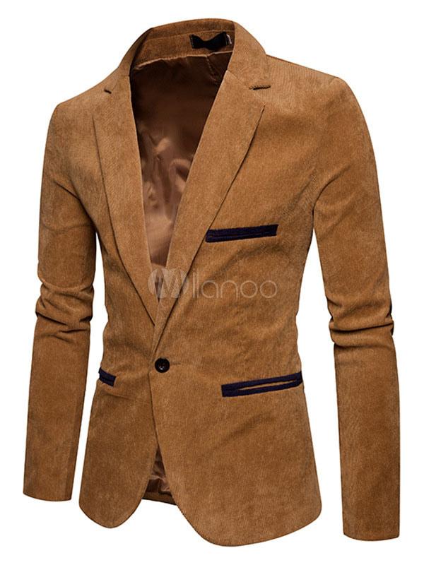 Buy Casual Blazer Khaki Notch Collar Two Tone Blazer For Men Pana Regular Fit Suit Jacket for $37.79 in Milanoo store