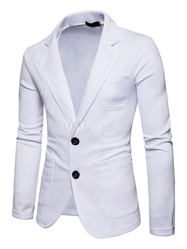 White Casual Suit Blazer For Men Turndown Collar Long Sleeve Regular Fit Spring Jacket