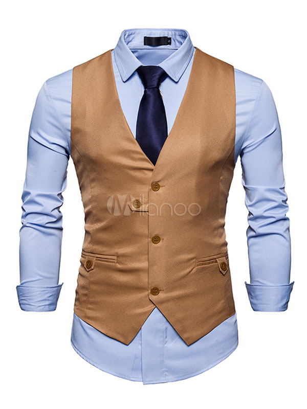 Black Waistcoat Men Vest Jacket V Neck Sleeveless Regular Fit Jacket