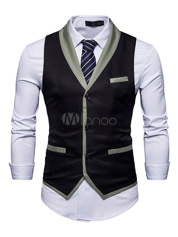 Black Vest Jacket Men Waistcoat V Neck Sleeveless Regular Fit Jacket