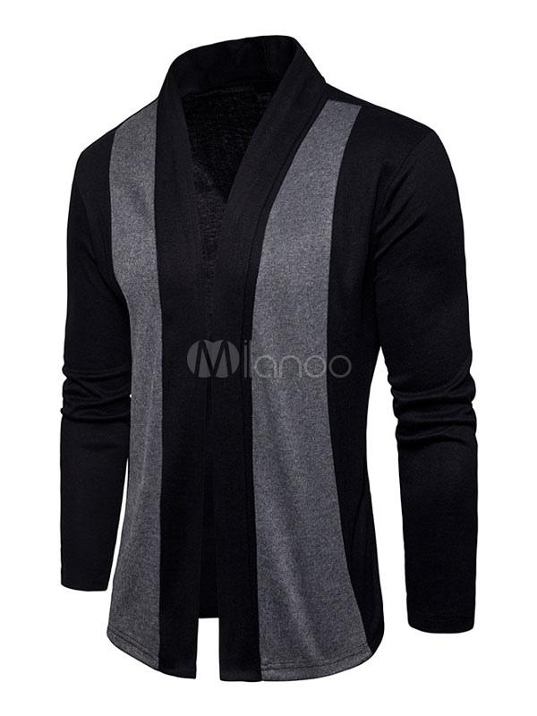 Men Cardigan Sweater Light Grey Stand Collar Long Sleeve Regular Fit Sweater