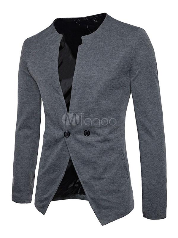 Men Jacket Grey V Neck Long Sleeve Regular Fit Casual Jacket Short Jacket