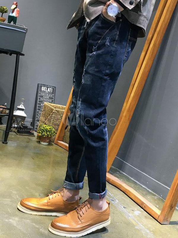 blaue denim jeans m nner zerrissene jeans gerades bein. Black Bedroom Furniture Sets. Home Design Ideas