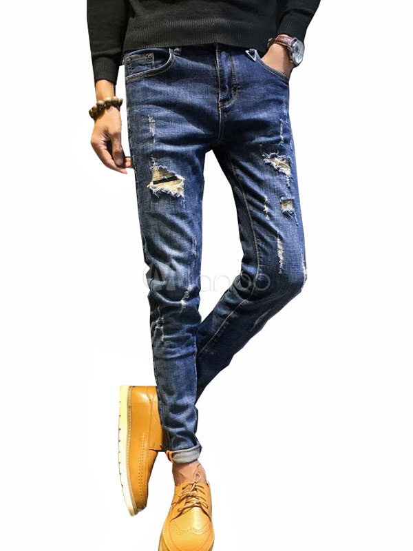 Blue Denim Jeans Men Straight Leg Ripped Jeans