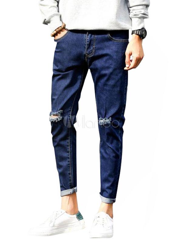 Buy Blue Ripped Jeans Men Straight Leg Long Denim Jeans for $27.59 in Milanoo store