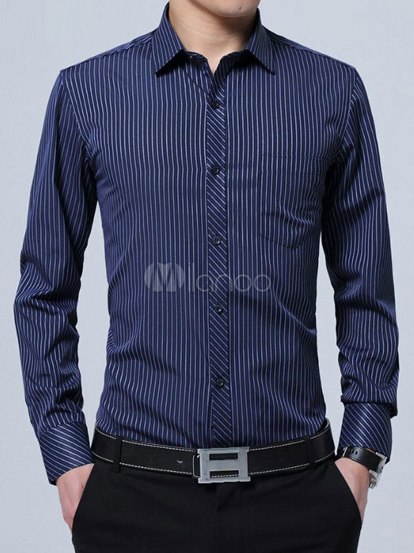 Men Dress Shirt Stripe Deep Blue Cotton Top Long Sleeve Shirt