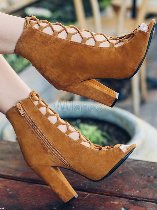Brown Ankle Boots High Heel Booties Nubuck Peep Toe Lace Up Sandal Booties