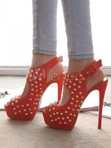 Buy High Heel Sandals Women Sexy Shoes Nubuck Peep Toe Rivets Slingbacks Sandal Shoes for $65.69 in Milanoo store