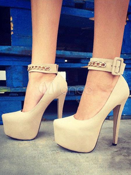 Buy Women High Heels Apricot Platform Buckle Detail Pumps for $67.49 in Milanoo store