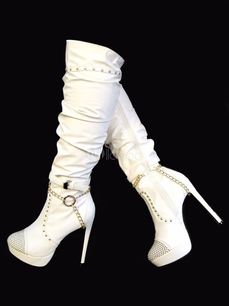 White High Heel Boots Thigh High Boots Round Toe Beaded Over Knee Boots