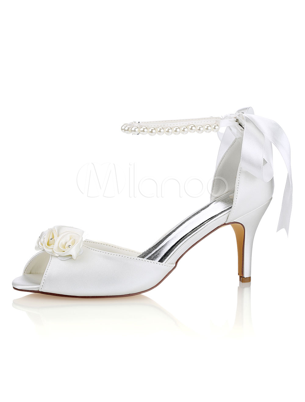 Silk Wedding Shoes Ivory Peep Toe Bow Pearls Ankle Strap Bridal Shoes