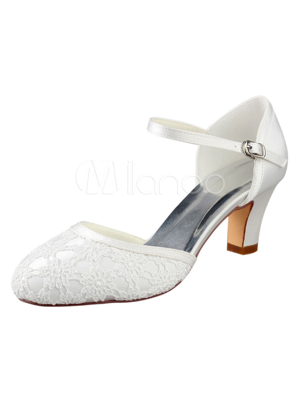 Ivory Wedding Shoes Vintage Round Toe Lace Buckle Detail Bridal Shoes