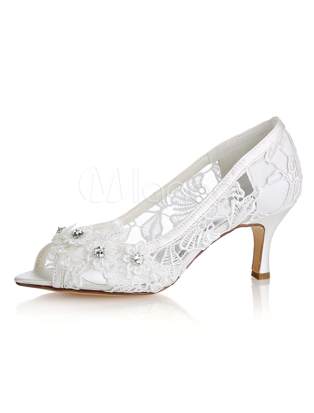 Buy Lace Wedding Shoes Ivory Peep Toe Rhinestones Kitten Heel Bridal Shoes Mother Shoes for $54.99 in Milanoo store