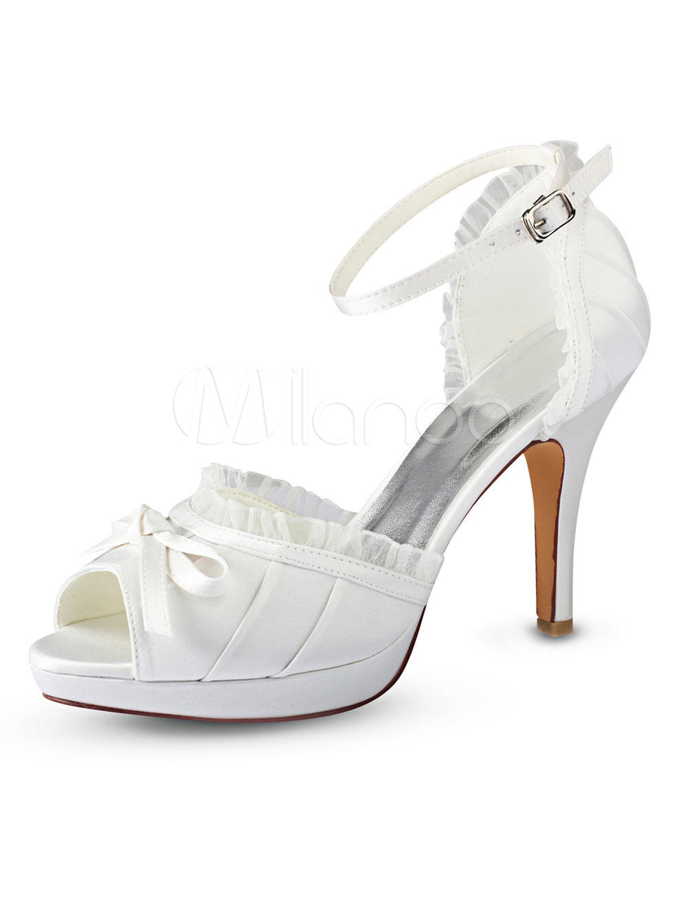 Buy Ivory Wedding Shoes Peep Toe Bow Ankle Strap Bridal Shoes High Heels for $59.99 in Milanoo store