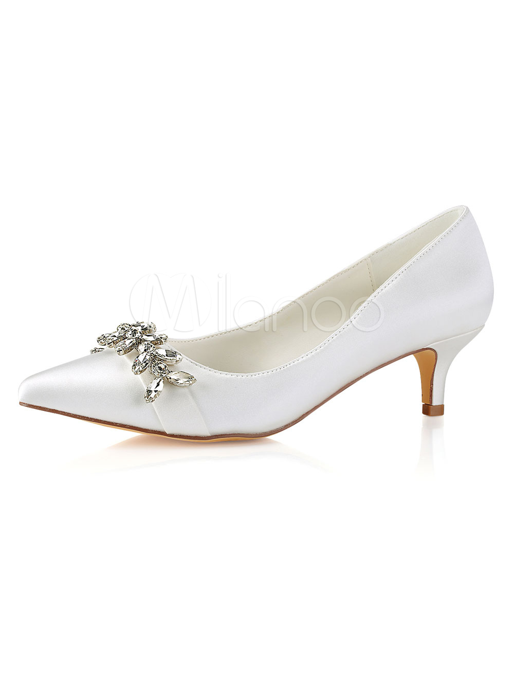 Ivory Wedding Shoes Pointed Toe Rhinestones Kitten Heel Bridal Shoes Mother Shoes