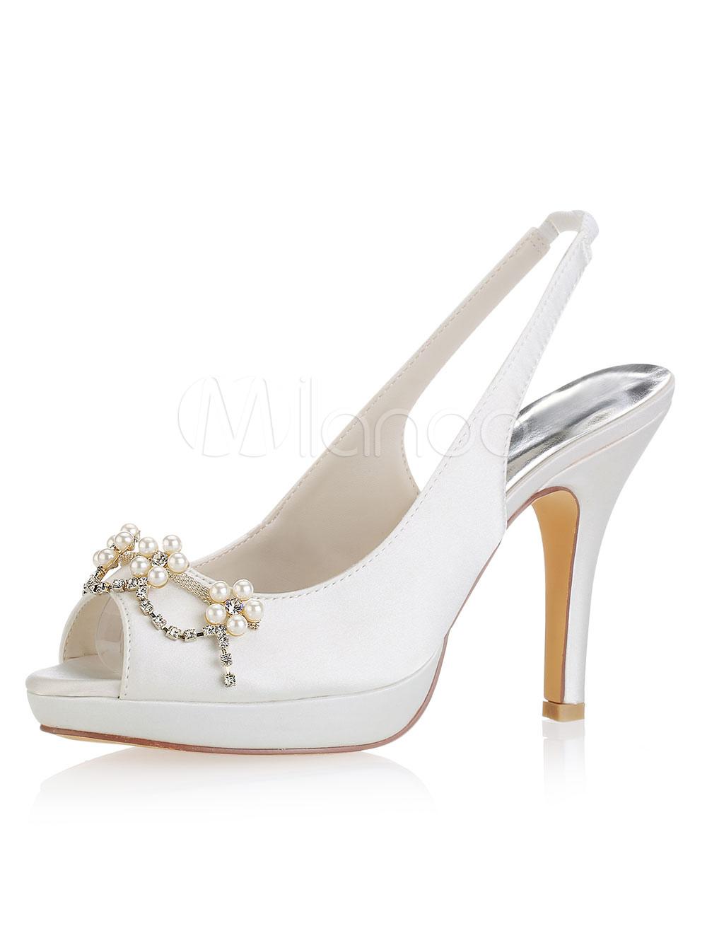 Buy Ivory Wedding Shoes Peep Toe Pearls Slingbacks Bridal Shoes Women High Heels for $57.59 in Milanoo store