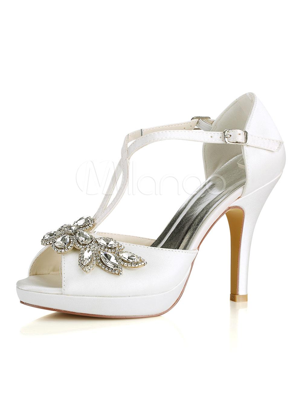 Ivory Wedding Shoes Peep Toe Rhinestones Criss Cross Bridal Shoes High Heel Sandals