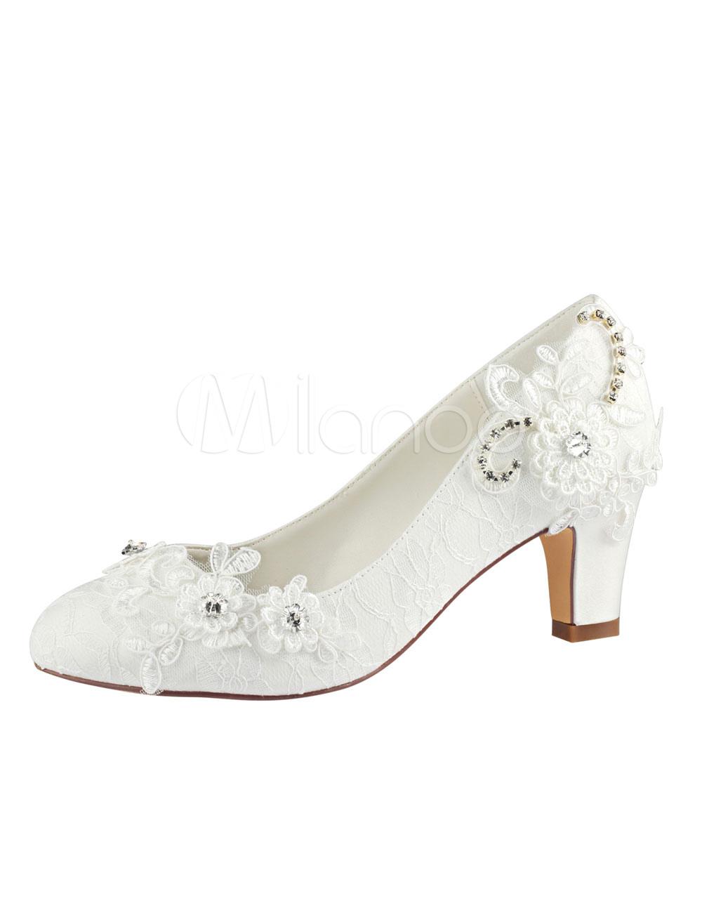 Lace Wedding Shoes Ivory Round Toe Rhinestones Slip On Bridal Shoes