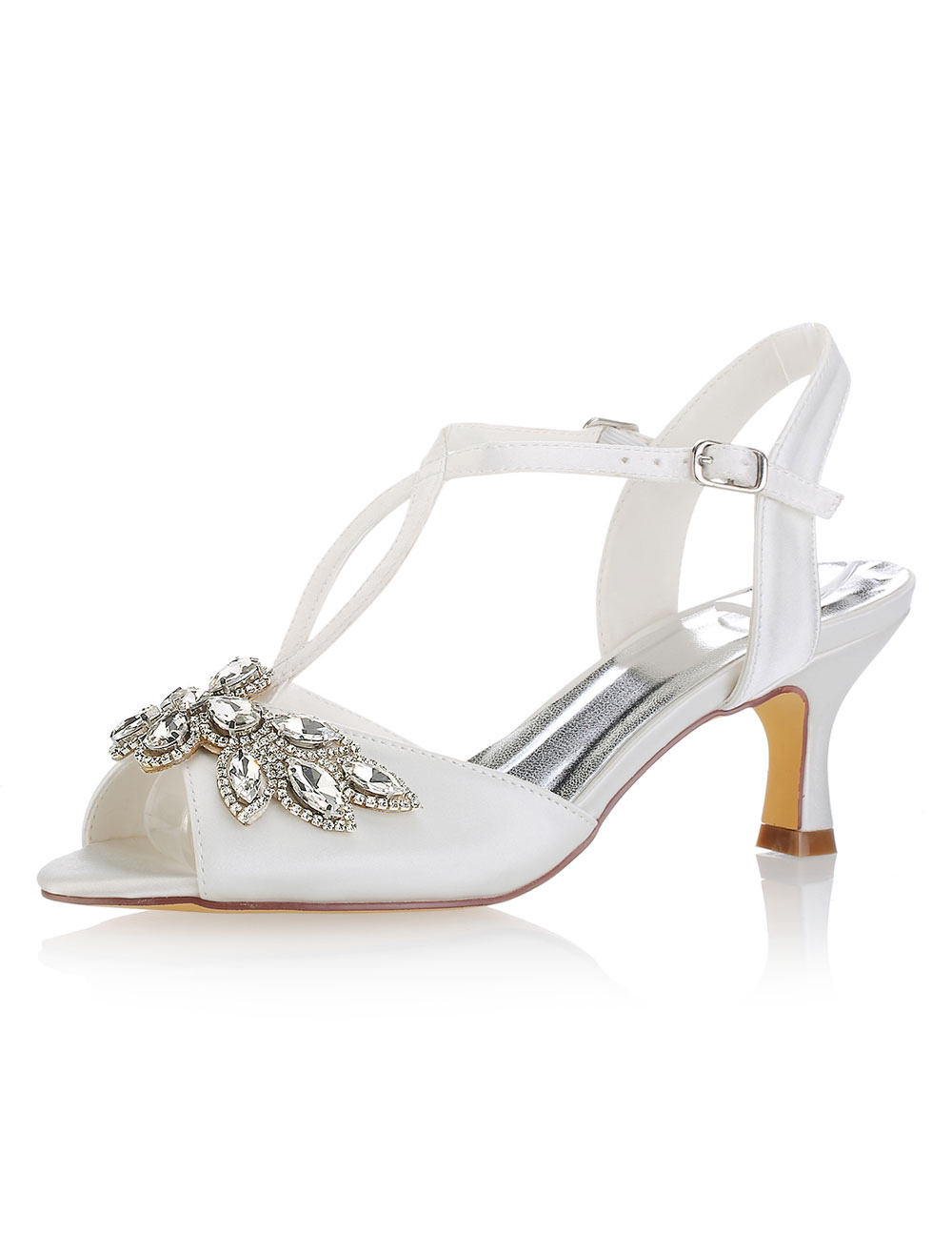 Buy Ivory Wedding Shoes Peep Toe Rhinestones Kitten Heel Bridal Shoes Women Shoes for $55.79 in Milanoo store