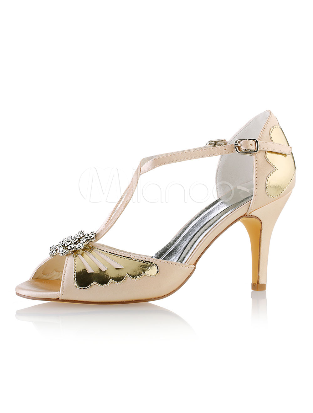Champagne Wedding Shoes Peep Toe Rhinestones Bridal Shoes Women