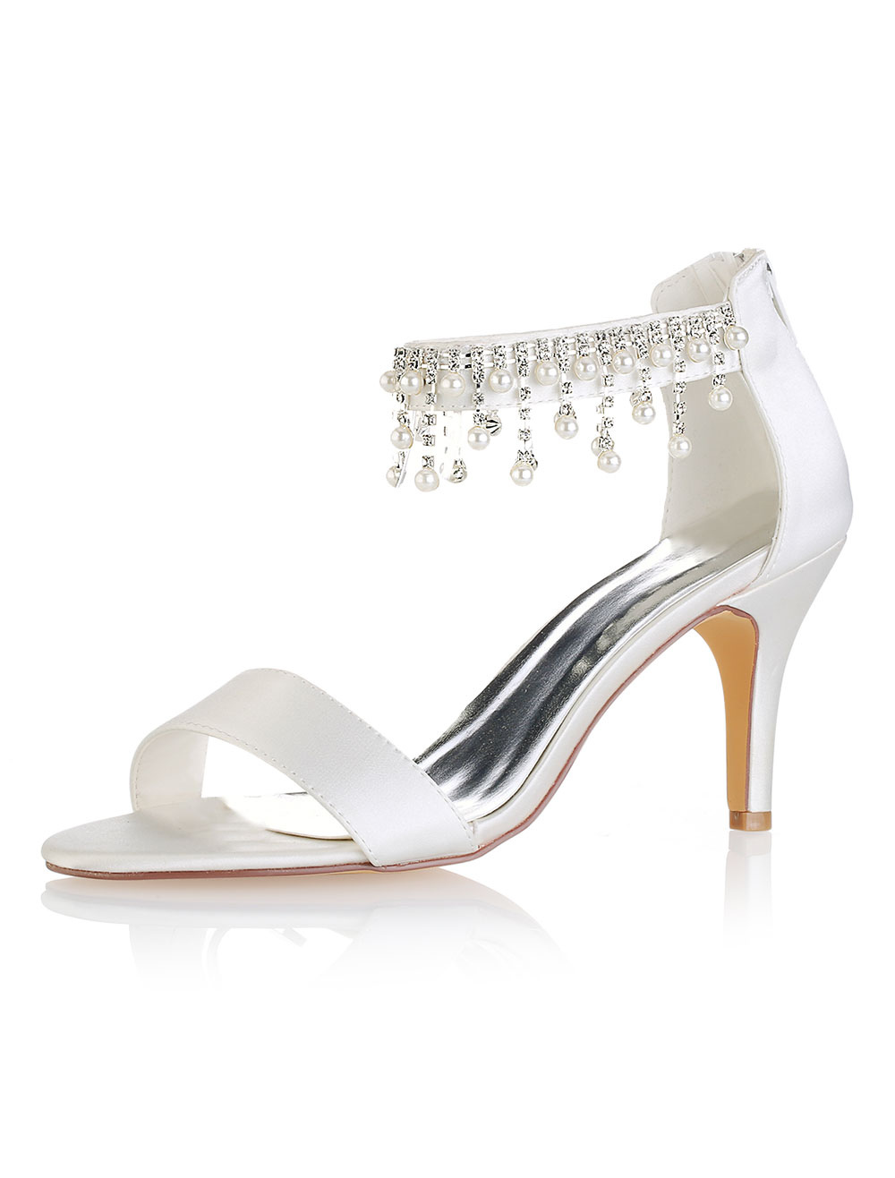 Buy Ivory Wedding Shoes Silk Open Toe Pearls Ankle Strap Bridal Shoes High Heel Sandals for $54.99 in Milanoo store