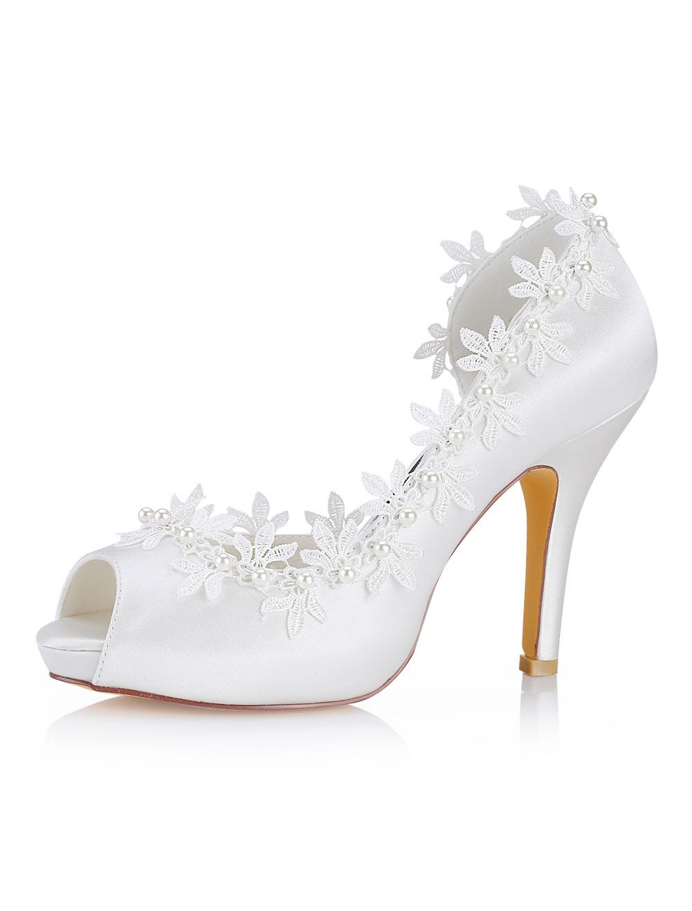 Ivory Wedding Shoes Silk Peep Toe Lace Detail Bridal Shoes Women High Heels