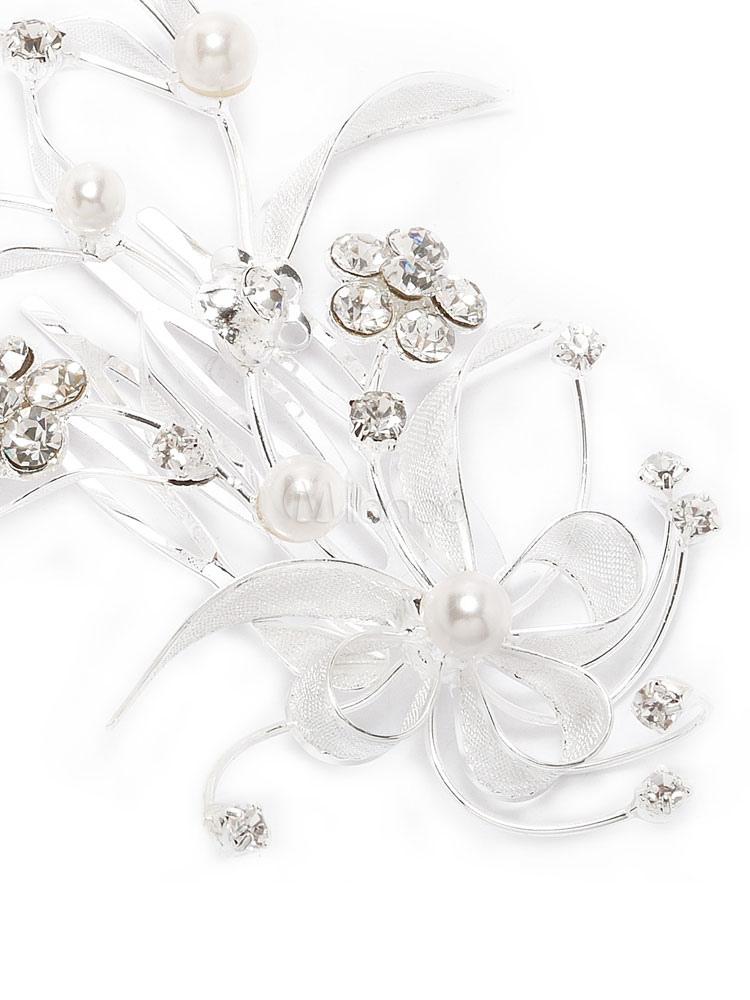 braut haar kamm floral leaf strass perle silber hochzeit haar accessoire. Black Bedroom Furniture Sets. Home Design Ideas