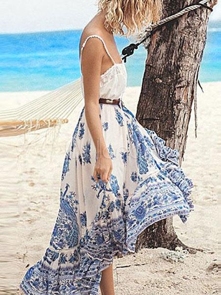 Women Skirt Boho Ethnic Print Tassel Ruffle Blue Mid Calf Skirt