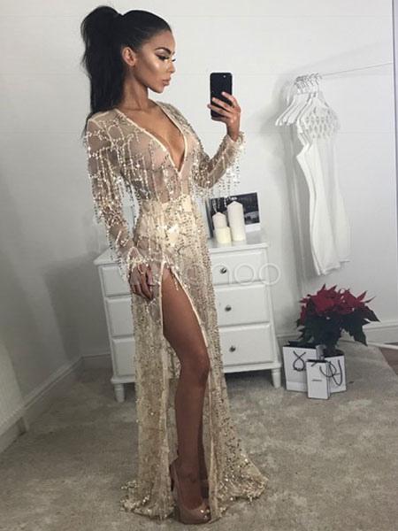 26d56d3cfb ... Maxi Party Dress Sequin Glitter Formal Dress Women Sheer Plunging Split  Long Sleeve Gold Sexy Dress ...