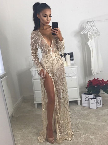 182b13c46e9 ... Maxi Party Dress Sequin Glitter Formal Dress Women Sheer Plunging Split  Long Sleeve Gold Sexy Dress ...