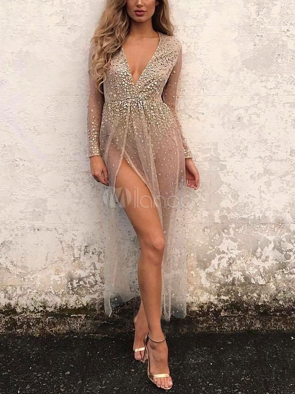 925ddd1a5f ... Black Maxi Dress Glitter Sheer Bodysuit Dress Plunging Long Sleeve  Split Women Sexy Dress-No ...