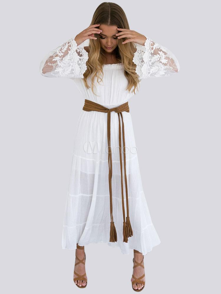 White Long Dress Lace Off Shoulder Women Summer Dress Boho Maxi Beach Dress