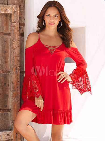 9662ba53a0d Red Shift Dress Women Boho Dress Strappy Long Sleeve Cold Shoulder Short  Dress-No.