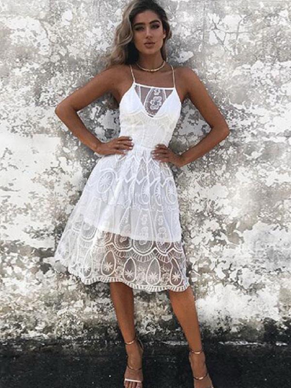b8717be84cf0 ... Vestito in pizzo bianco donna bretelle di pizzo con annodature  snellente abiti estivi monocolore Estate da ...
