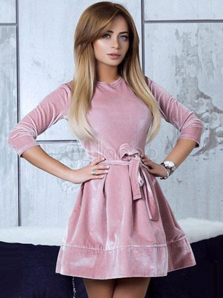 85f7a36a034 Pink Skater Dress Women Short Dress Velvet Round Neck 3 4 Length Sleeve  Slim Fit ...