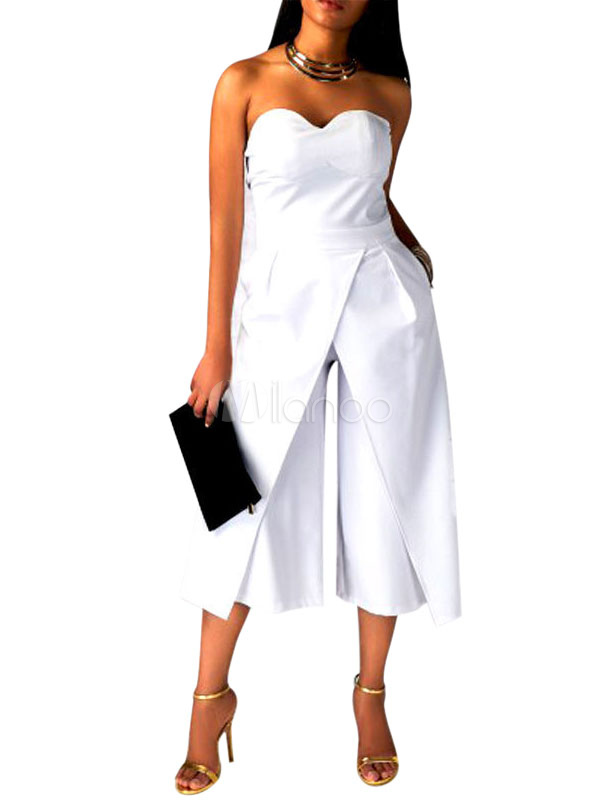 1da38079ab91 Wide Leg Jumpsuit Women Cropped Strapless Sweetheart Tea Jumpsuits-No.1 ...