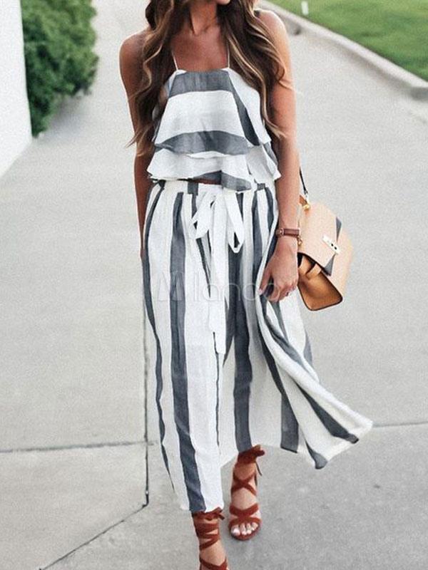 172b7271ca Moda Mujer · Conjunto Dos Piezas · Conjunto de falda de Boho Top corto de  rayas sin mangas acodado de las mujeres con ...