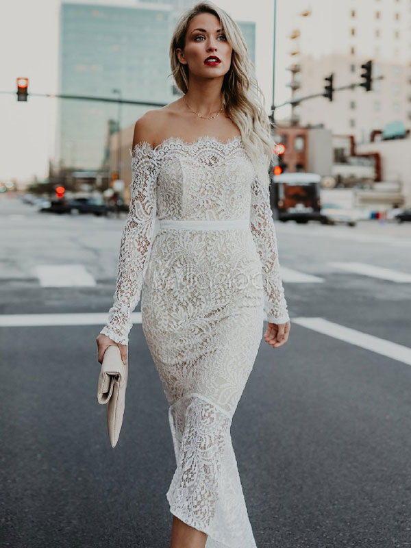 Buy Women Lace Dress White Long Dress Off The Shoulder Long Sleeve High Low Maxi Dress for $32.11 in Milanoo store
