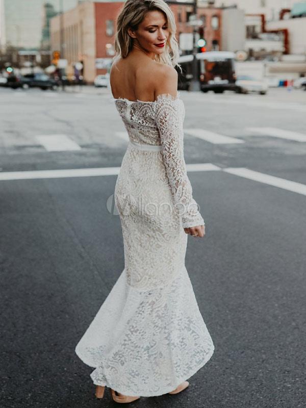 ab59fe532889 ... Women Lace Dress White Long Dress Off The Shoulder Long Sleeve High Low  Maxi Dress- ...
