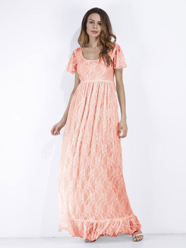 Lace Long Dress White Women Short Sleeve Ruffle Boho Maxi