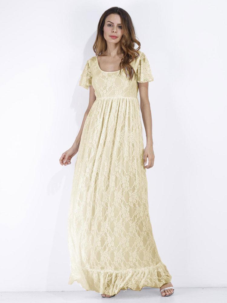 c1501d34bee5 ... Lace Long Dress White Women Short Sleeve Ruffle Boho Maxi Dress-No.5 ...