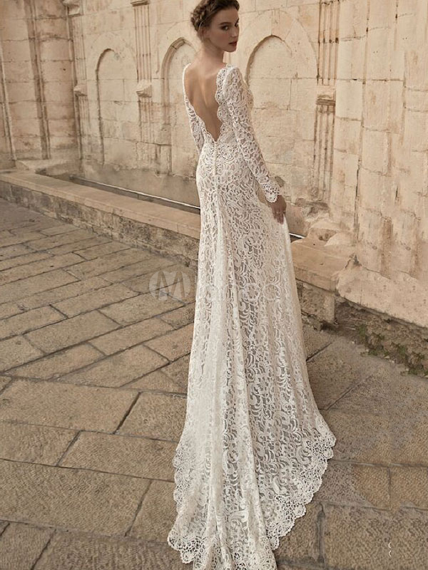 White Long Dress Lace Maxi Party Dress V Neck Backless Long Sleeve Women Formal Dress