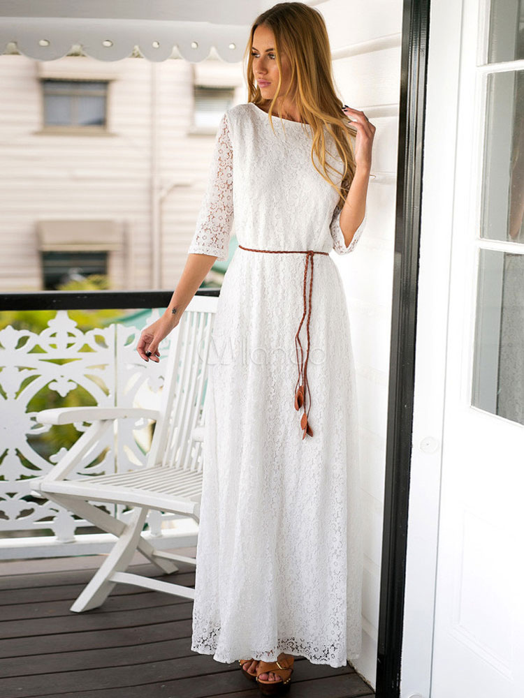 Buy White Long Dress Women Maxi Lace Dress Round Neck Three Quarter Sleeve Prom Dress for $24.49 in Milanoo store