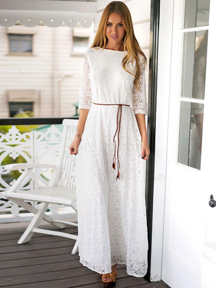 robe longue blanche femmes maxi dress col rond 3 4 longueur robe dentelle manches longues. Black Bedroom Furniture Sets. Home Design Ideas