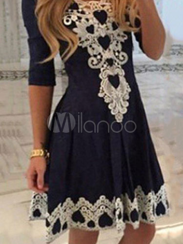 Buy Women Skater Dress Dark Navy Round Neck Half Sleeve Lace Detail Flare Dress for $22.99 in Milanoo store