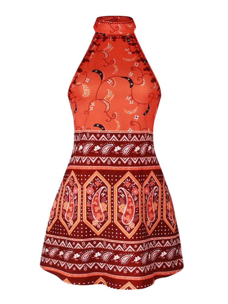 db3e46faf3 ... Women Boho Dress Orange Red Halter Sleeveless Printed Short Dress  Summer Dress-No.5 ...