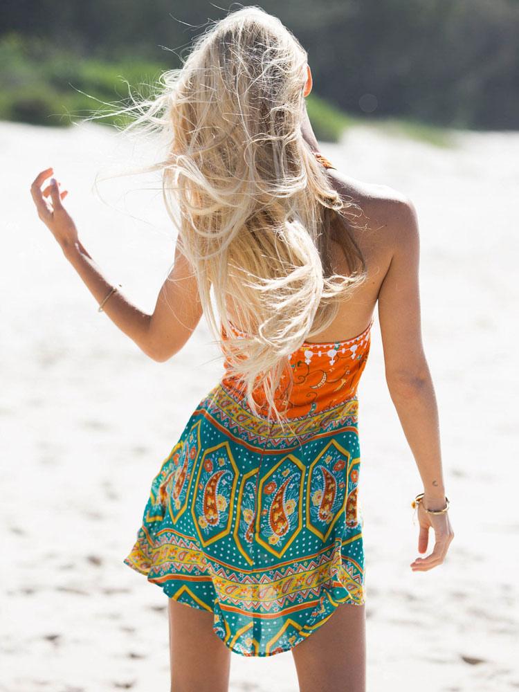 2e9fccc2ad ... Women Boho Dress Orange Red Halter Sleeveless Printed Short Dress  Summer Dress-No.4 ...