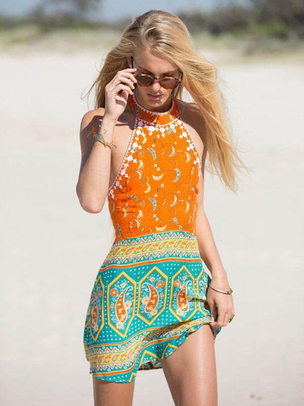 de7a481d67 ... Women Boho Dress Orange Red Halter Sleeveless Printed Short Dress  Summer Dress-No.3 ...