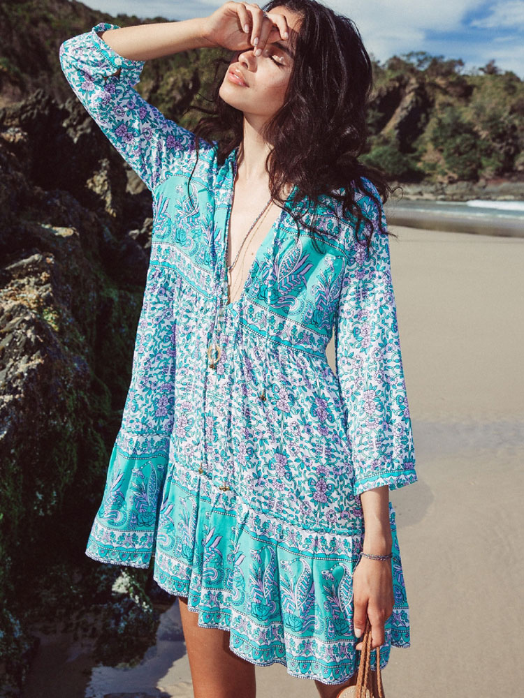 Women Boho Dress Light Blue Summer Dress V Neck 3/4 Length Sleeve Printed Oversized Short Dress Cheap clothes, free shipping worldwide